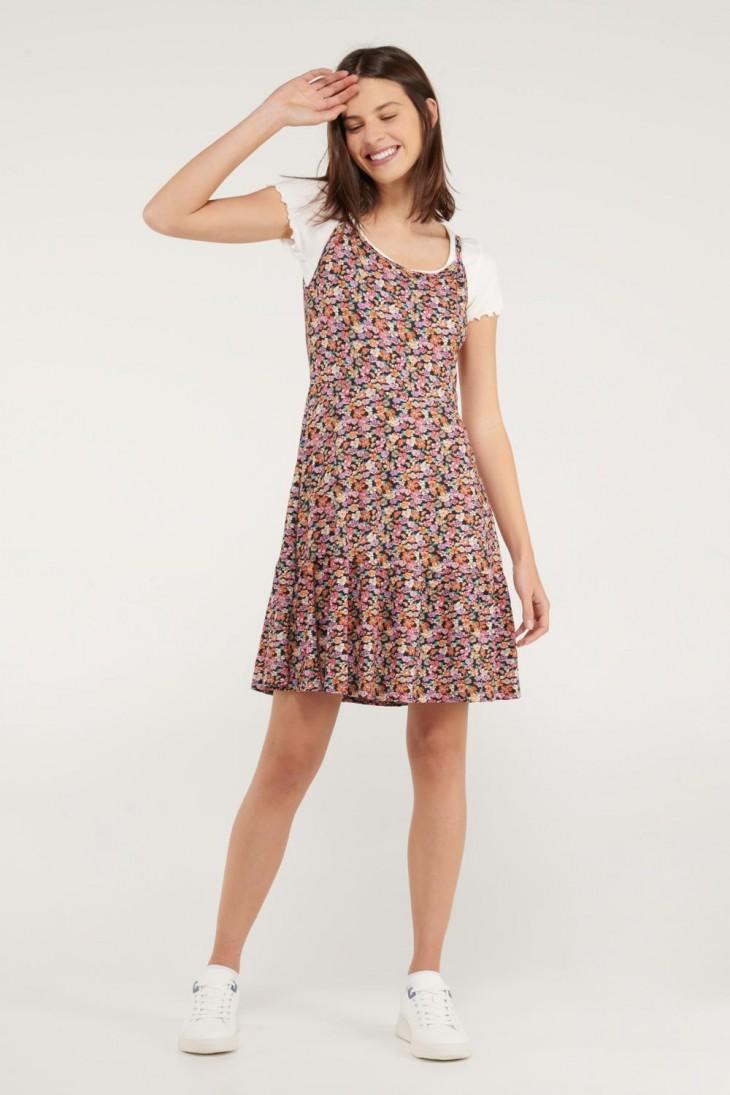 Vestido floral corto de tiras.