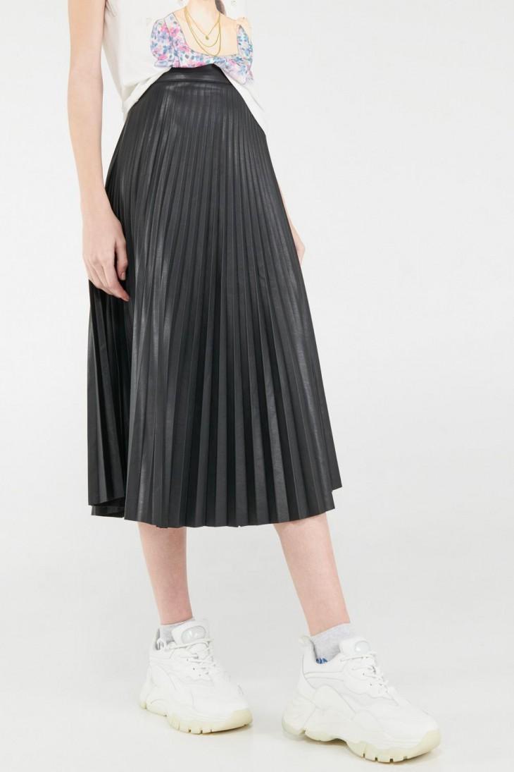 Falda plisada larga, cuero sintético