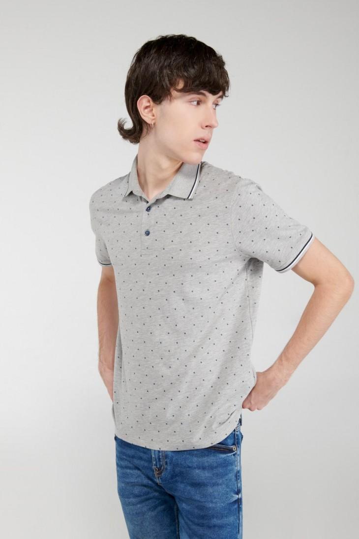 Camiseta Polo estampada con cuello y puños tejidos