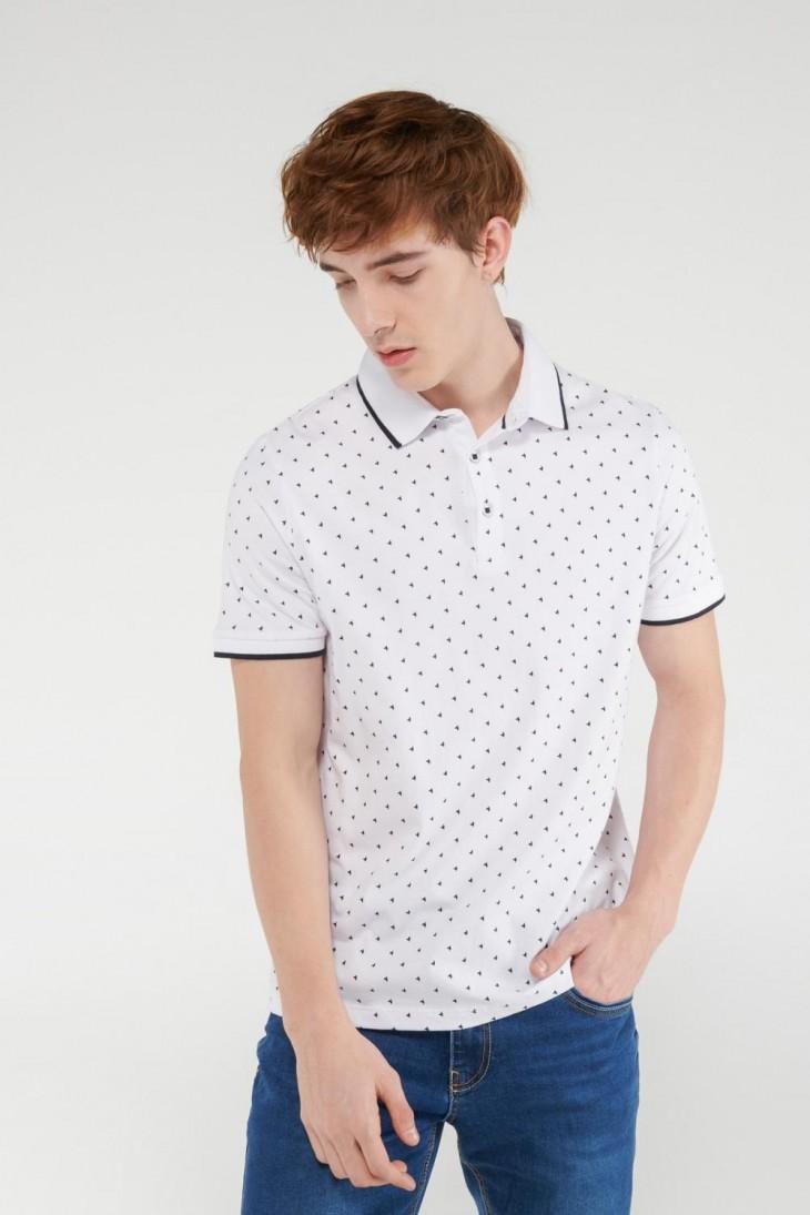 Camiseta Polo unicolor con cuello y puños tejidos