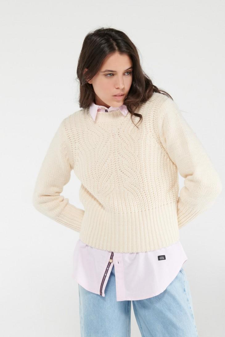 Suéter trenzas unicolor