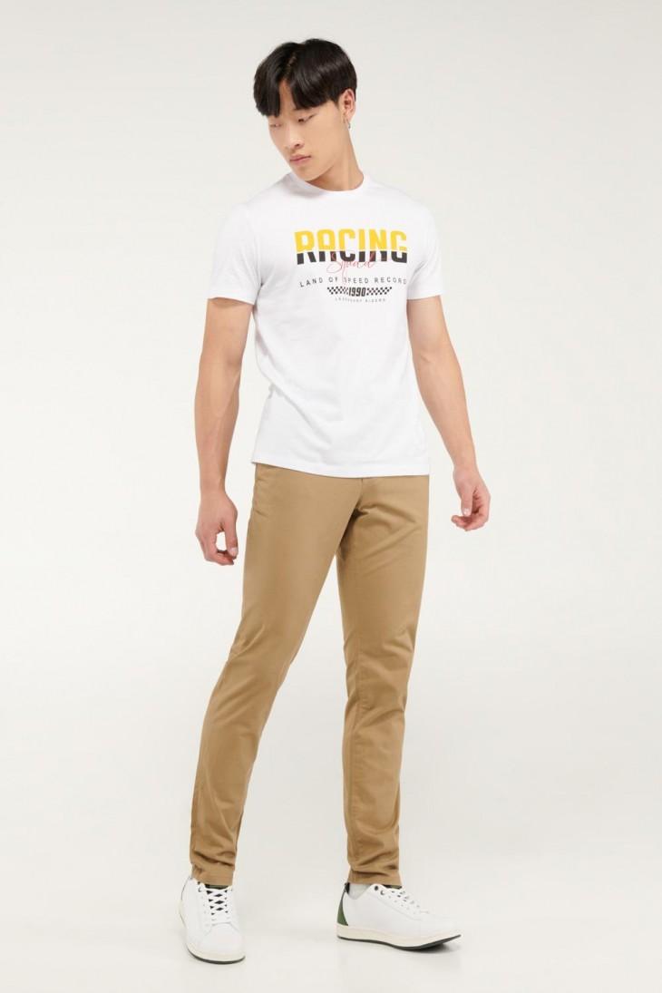 Pantalón unicolor tipo chino super slim