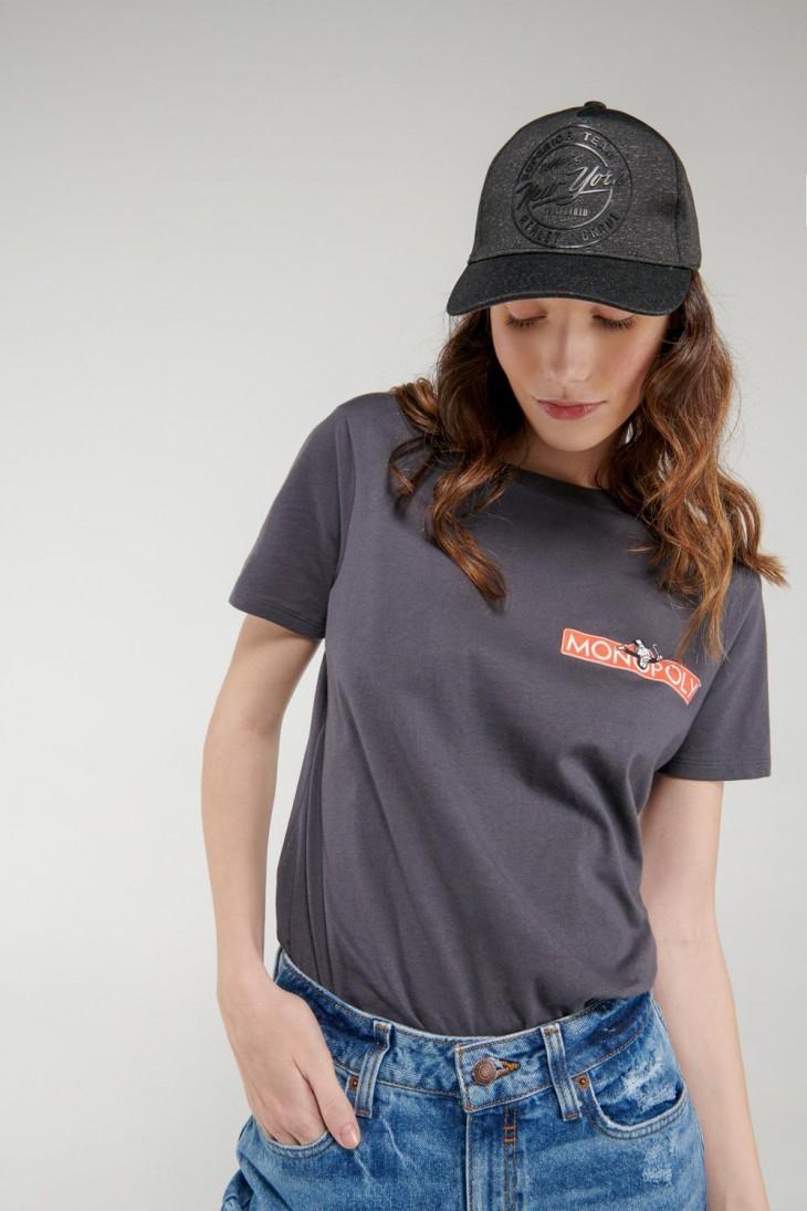 Camiseta manga corta, estampado de Monopolio.