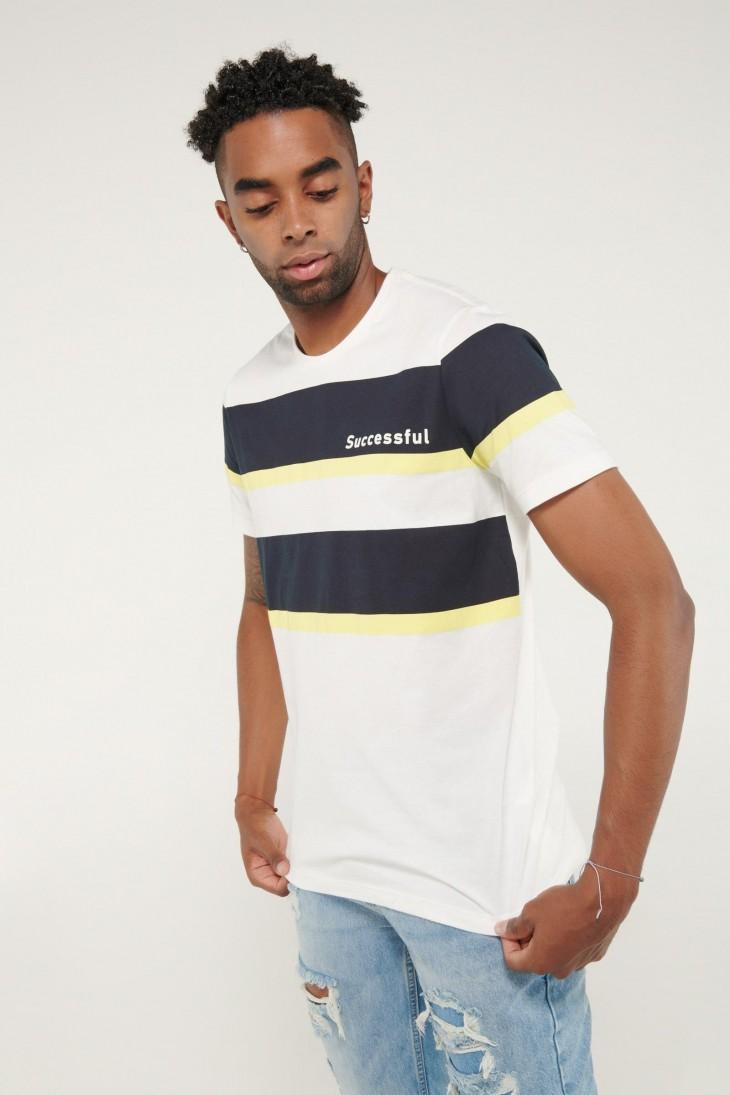 Camiseta manga corta estampado de rayas