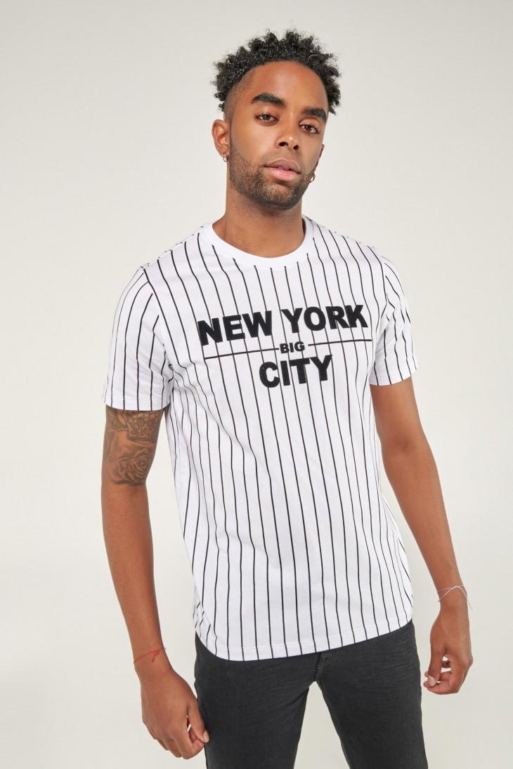 Camiseta manga corta de rayas, beisbol.